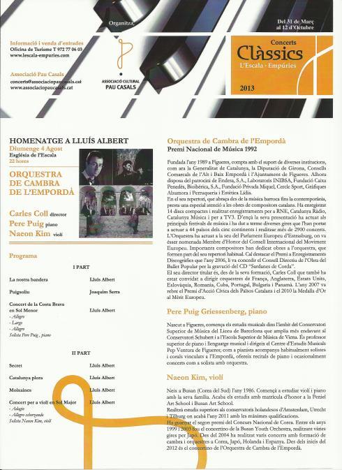 Programa homenatge a Lluis Albert